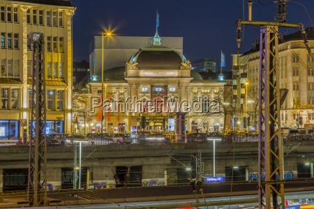 germany hamburg illuminated schauspielhaus by night