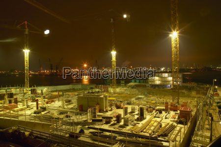 germany hamburg hafencity construction site at