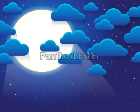 cielo notturno con tema nuvole stilizzate