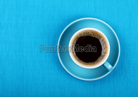 full black coffee in blue cup
