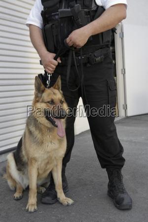 guardia di sicurezza con cane