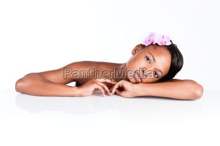 beautiful african woman in studio doing