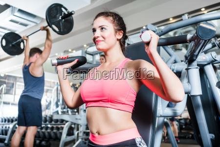 woman and man having sport training