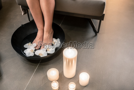 female feet during asian therapeutic washing