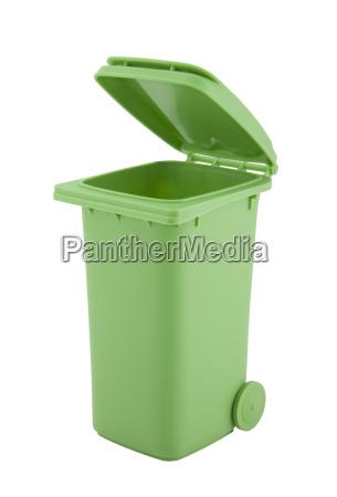 cestino verde isolato su sfondo bianco