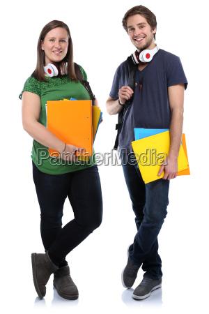 coppia di studenti giovani giovane donna
