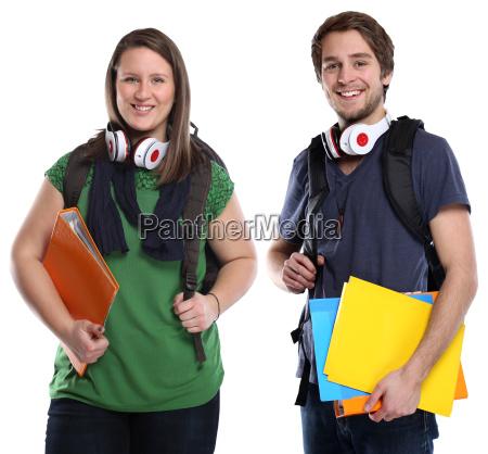 gli studenti giovane uomo donna coppia