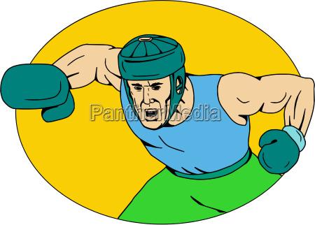amateur boxer knockout punch drawing