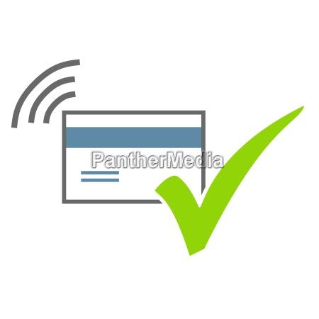 pagamento wireless con segno di spunta