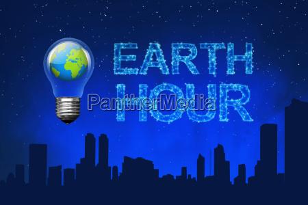 pianeta blu sulla lampadina con il