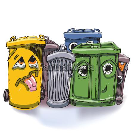 sei bidoni della spazzatura