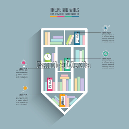 creative concept for infographic pencil bookshelf