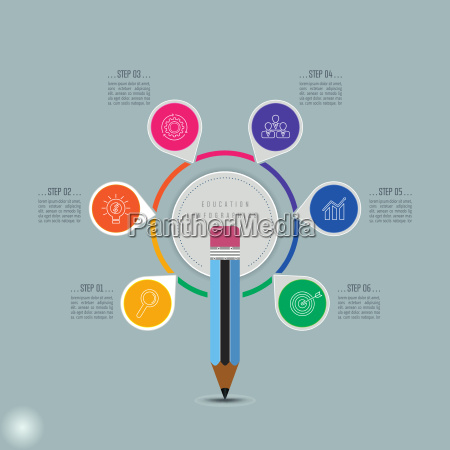 education infographics template 6 step option