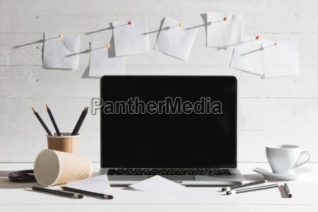 bicchiere ufficio nota annotare portatile computer