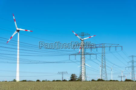 wind turbines and power transmission lines