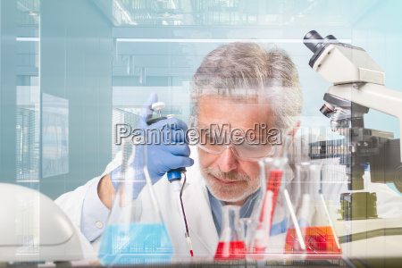 senior life science research researching in