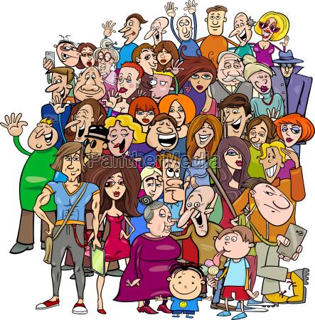 gruppo di persone di cartone animato