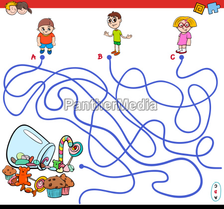 cartoon paths maze game with kids