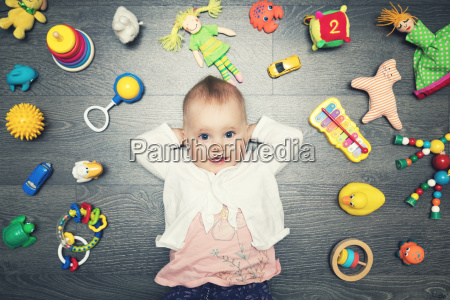 cute baby girl with lot of
