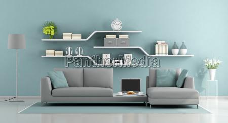 blue and gray minimalist lounge