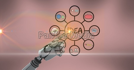 digital composite image of robot hand