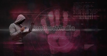 digital composite image of hacker using