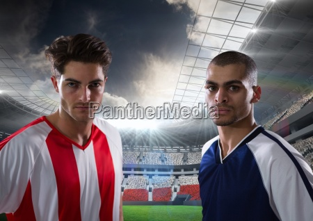 soccer players looking to the camera