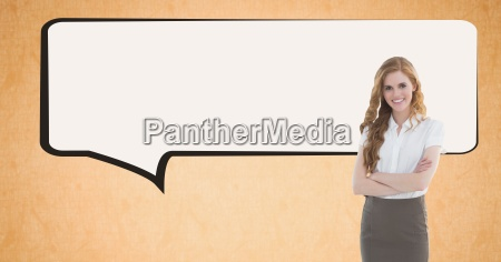 digital image of businesswoman standing by