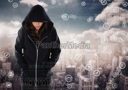 woman hacker hooded standing on in