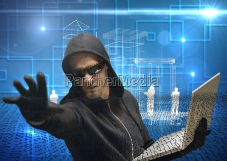 hacker extending his hand while working