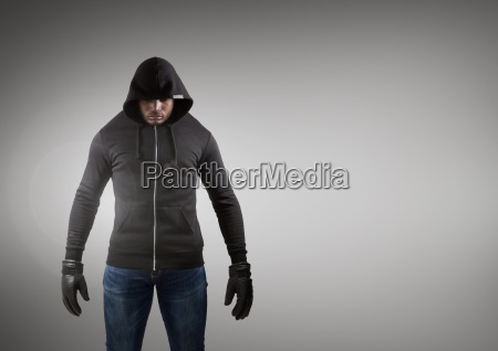 hacker with black jacket in front