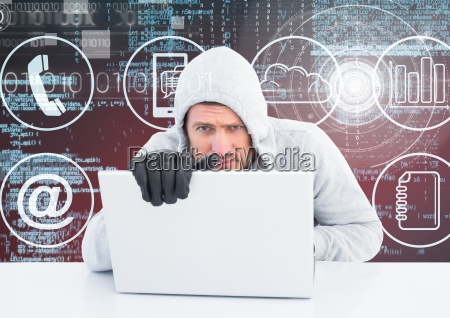 hacker with gloves using a laptop