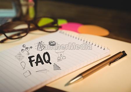 faq doodle su blocco note con