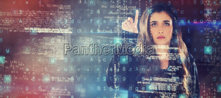 composite image of female hacker using