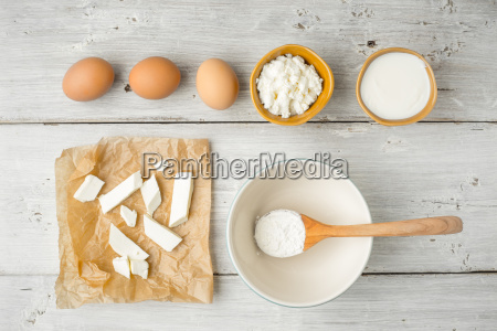 different fresh cheese with yogurt and
