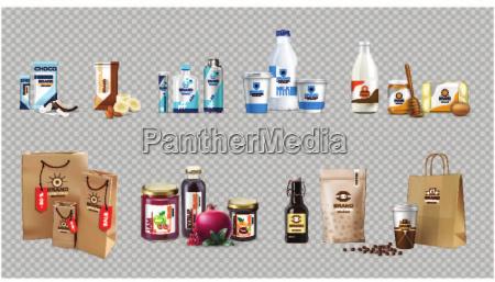 vector prodotti alimentari realistici latte e