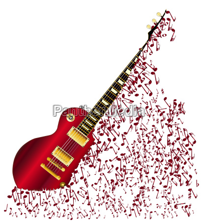 musical notes fragmenting guitar