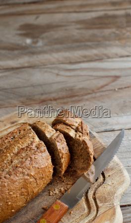 natura morta cibo pane lavagna pannello