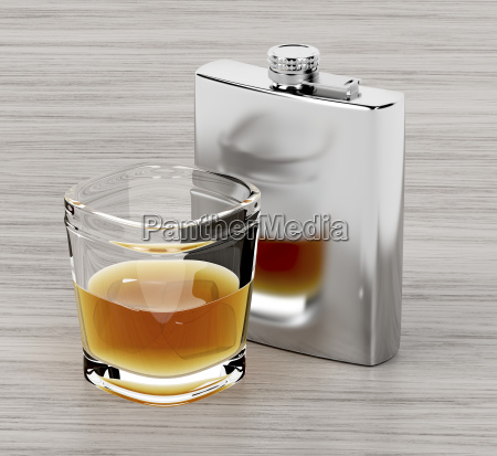 fiaschetta, e, un, bicchiere, di, brandy - 23452495