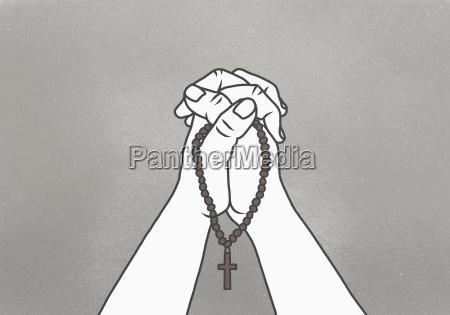 religione croce orizzontale illustrazione preghiera idee