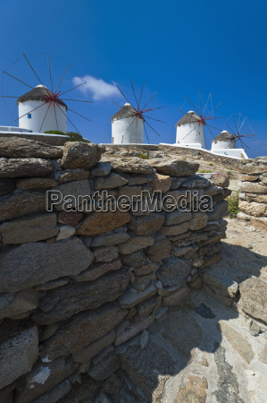greece cyclades islands mykonos stone wall