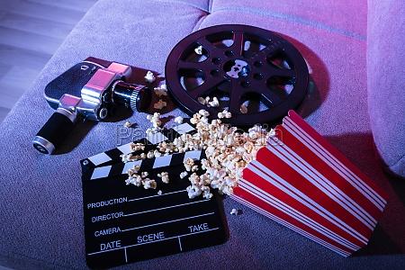 macchina fotografica cinema azione film popcorn