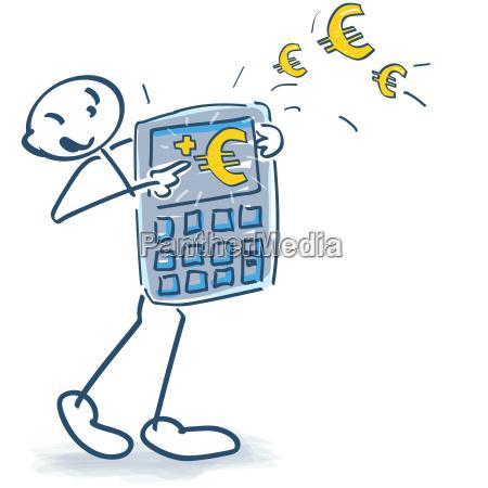 stick figure con calcolatrici e euro