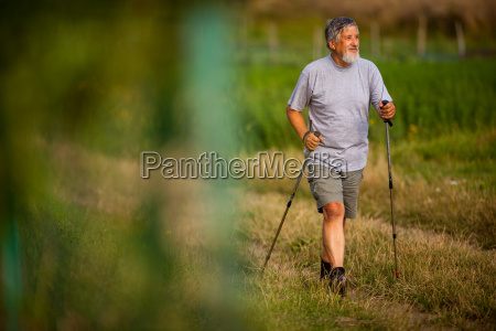 active handsome senior man nordic walking