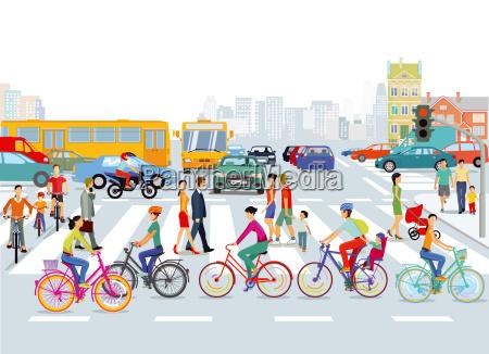 citta del trafficociclisti e pedoniillustrazione