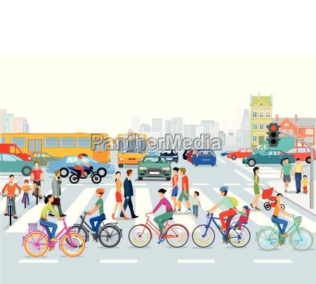 citta del traffico ciclisti e pedoni