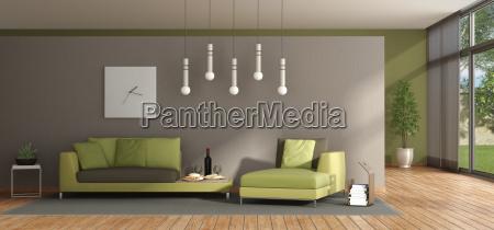 minimalist living room with green sofa