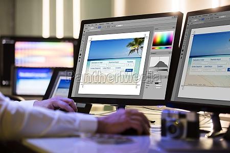progettista che lavora sullo schermo di