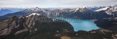 aerial view panorama of garibaldi lake