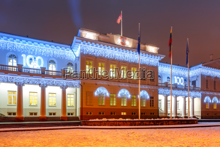 presidential palace at night vilnius lithuania